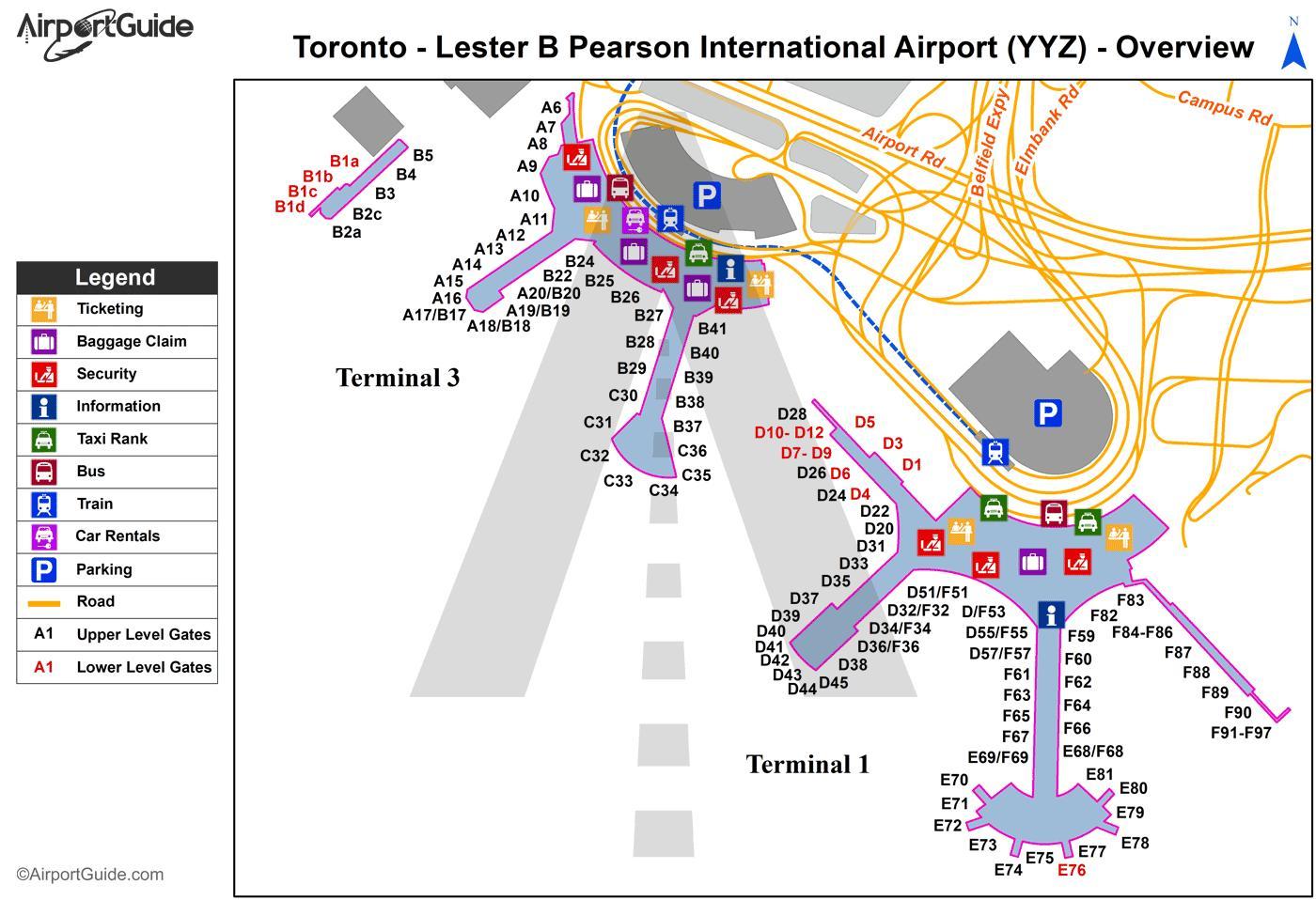 Pearson airport map Toronto pearson map Canada