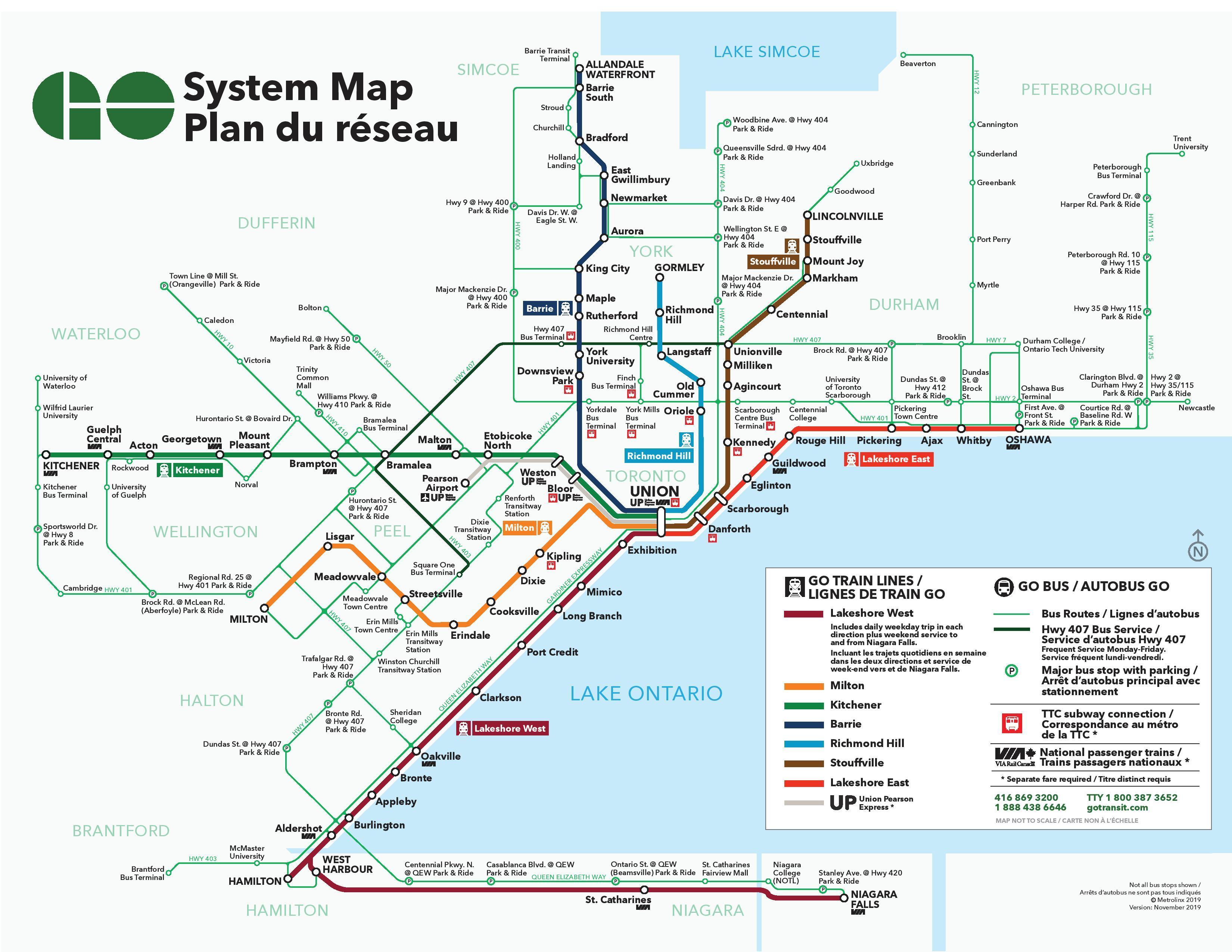 Go bus map Toronto bus station map Canada