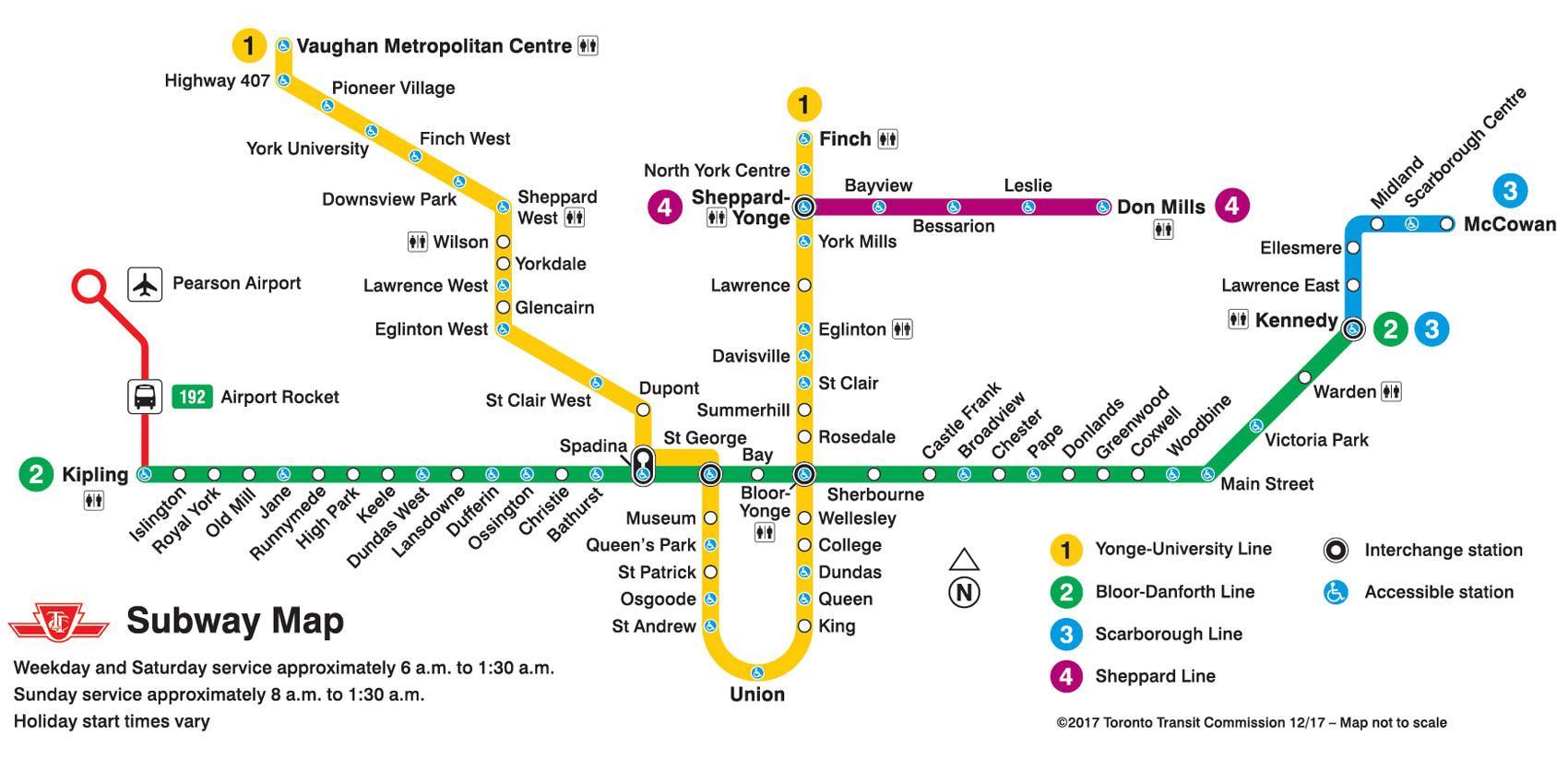 subway map toronto  ttc subway map toronto (canada) - ttc subway map toronto