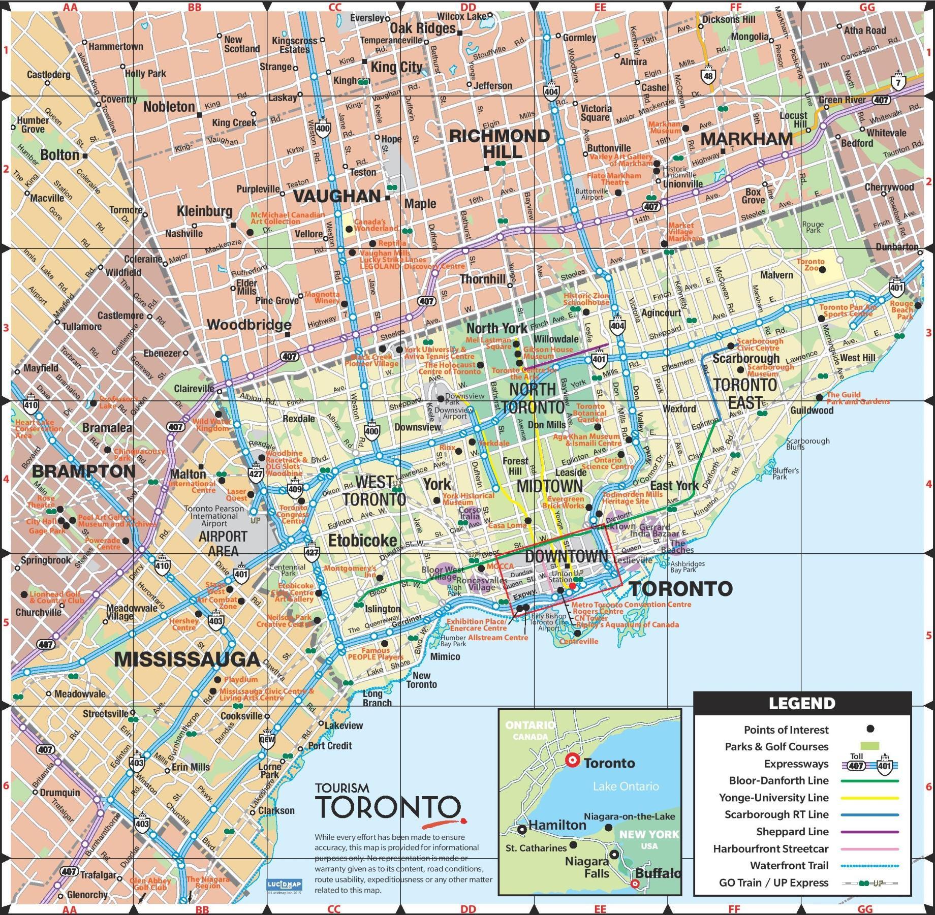 Toronto map - Map of Toronto city (Canada)