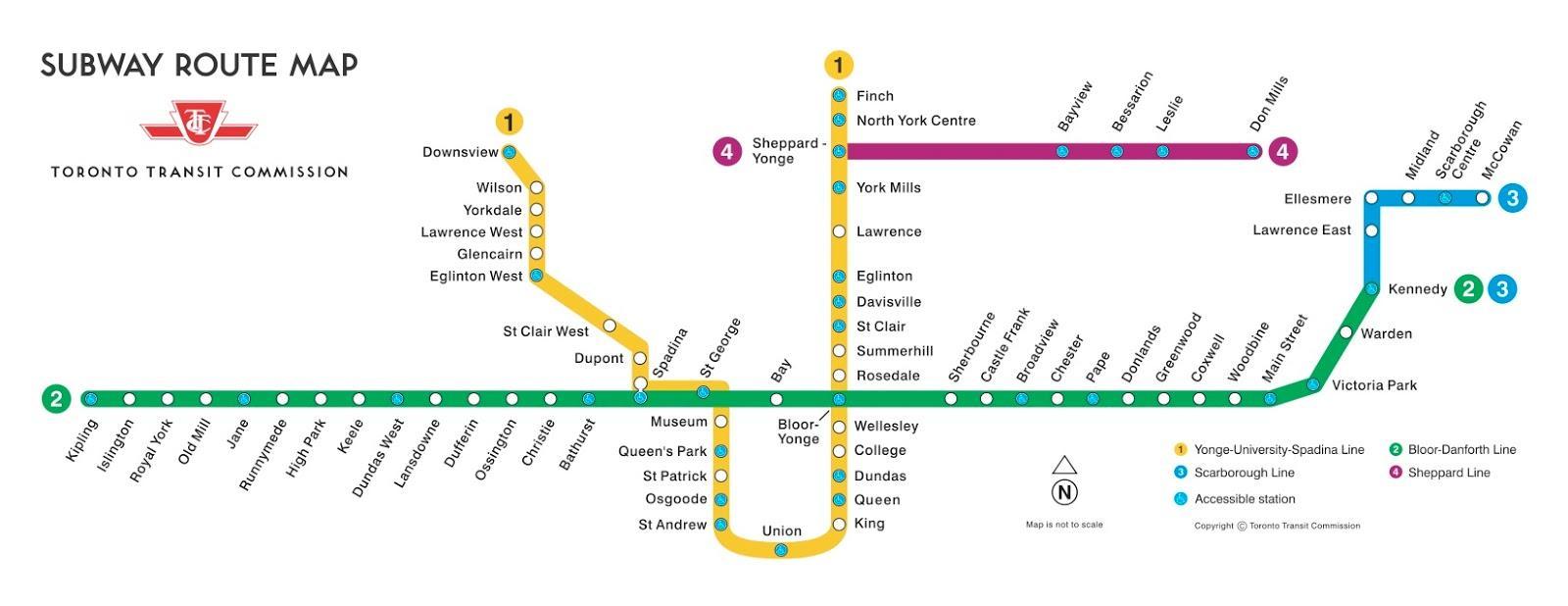 Subway Map Canada Toronto.Toronto Subway Map Map Of Toronto Subway Canada