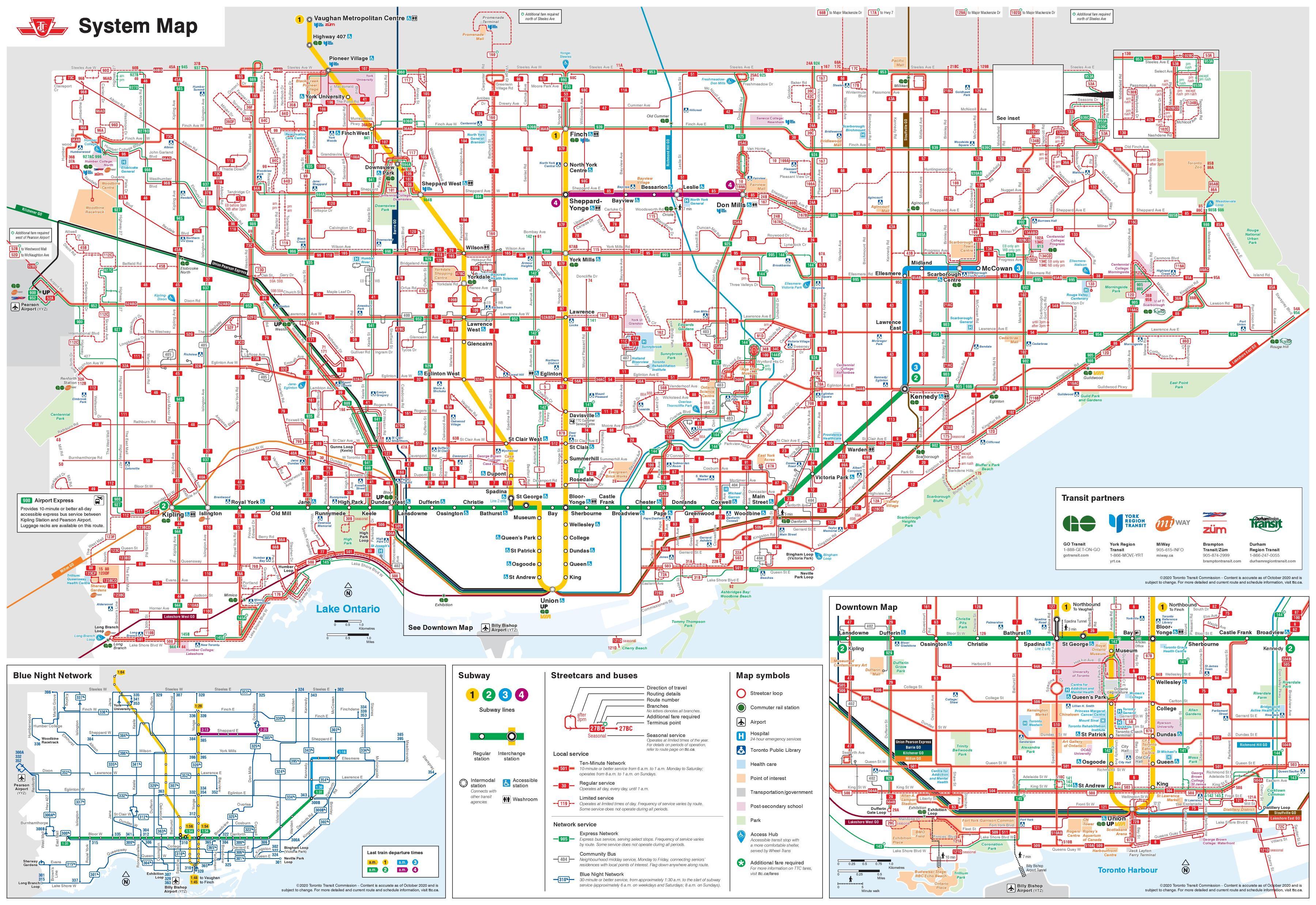 Ttc bus map - Ttc map Toronto bus (Canada)