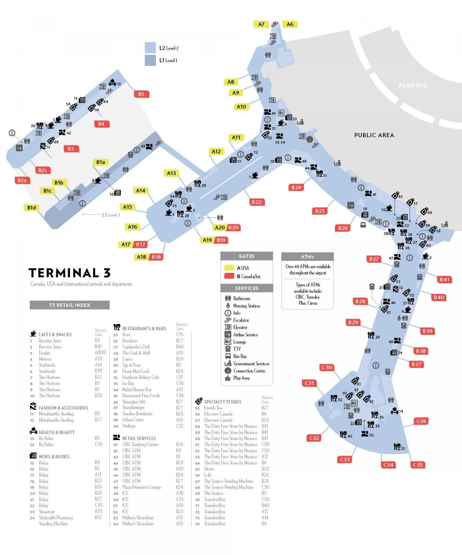 Pearson airport terminal 3 map Pearson terminal 3 map Canada