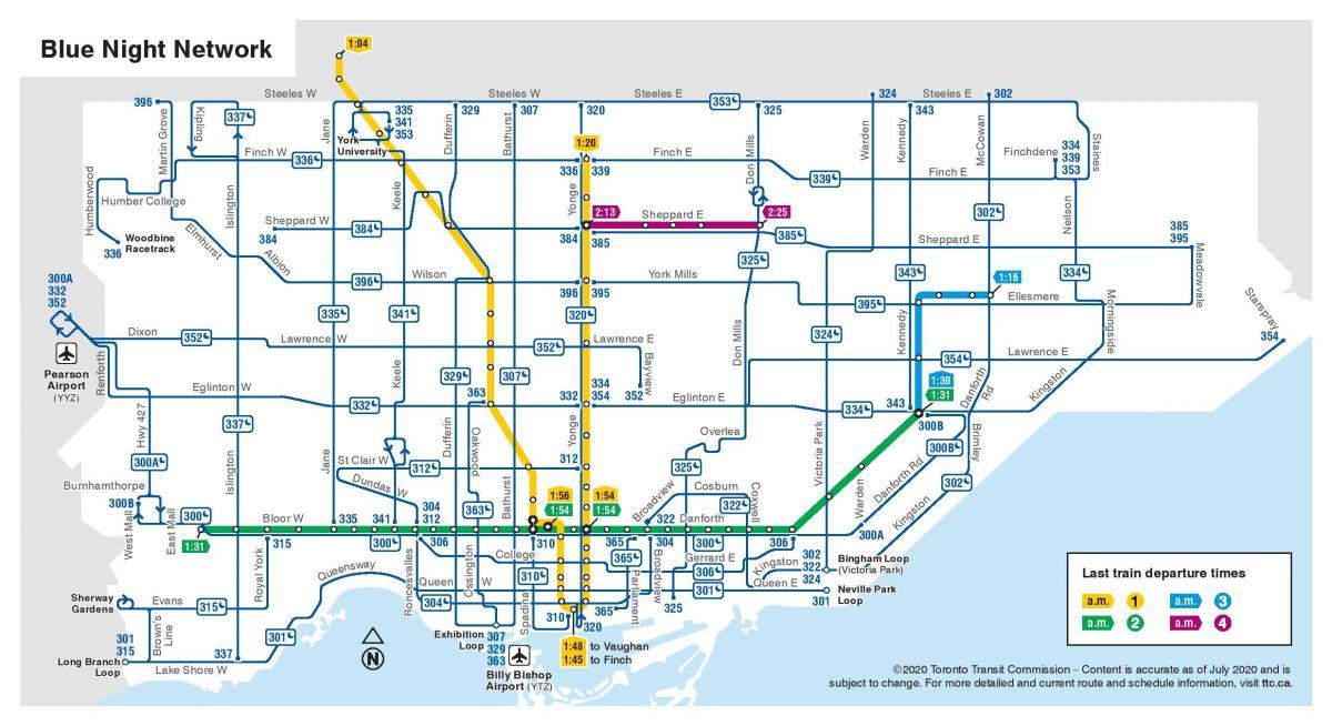 Ttc night bus map Map of night bus Toronto Canada